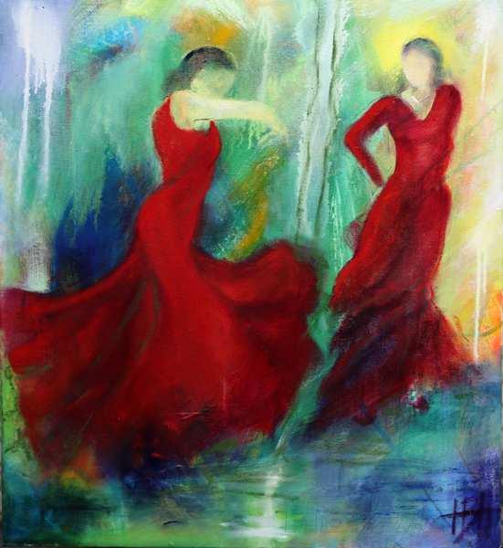 Olie på lærred flamencodansere