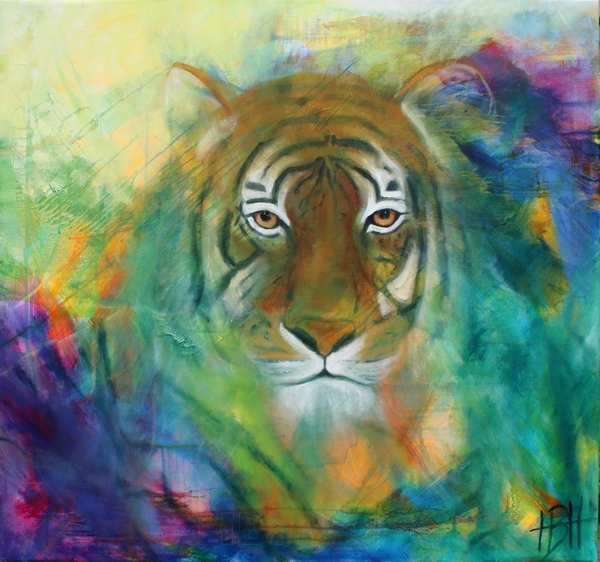 oliemaleri på lærred af tiger
