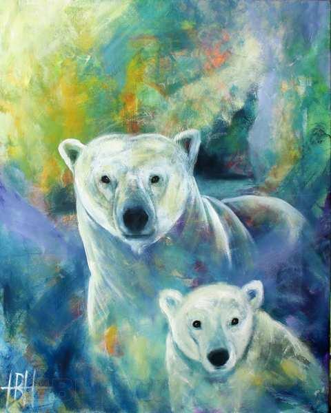 Isbjørne i olie på lærred