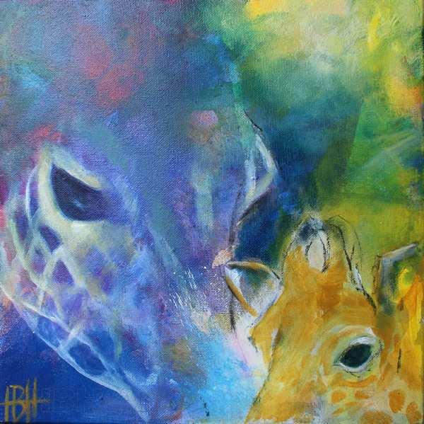 oliemaleri af giraf med unge