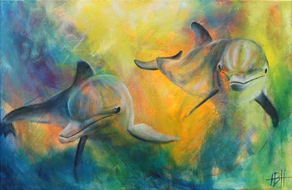 oliemalerier af delfiner