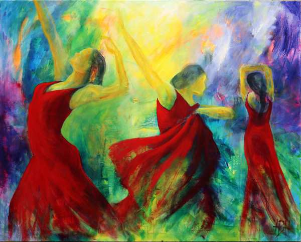 stort oliemaleri af flamencodansere